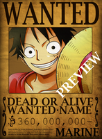 One Piece Wanted Poster PSD by mazeko