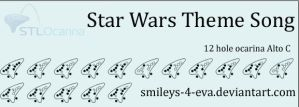 Star Wars Theme Song 12 hole ocarina tablature by smileys-4-eva