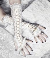 Alabaster Maiden Corset Laced Up Arm Warmers by ZenAndCoffee