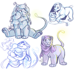 Pillow Lion sketches by Machati