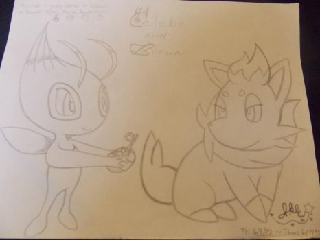 .:Celebi and Zorua:. by SonicPokemonPrincess