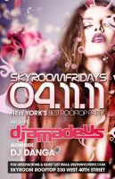 flyer for skyroom fridays NYC by sounddecor