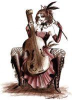 cello-playing concubine by TenebraCorvus