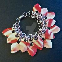 Pink and White Lollipop Scalemaille Bracelet by Rosie-Periannath