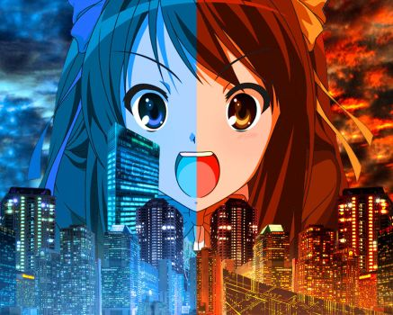 The Two sides of Suzumiya by Twisted-Vocaloid