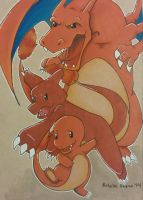 Charmander, Charmeleon and Charizard by Pradaninja