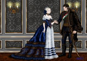 1875 Hussar with Lady and Fancy Background by Yagellonica