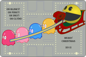 Pac Man Christmas Card by radishdalek