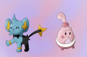 Shinx and Happiny by BlueStormGeo