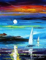 Blue moon 2 by Leonid Afremov by Leonidafremov