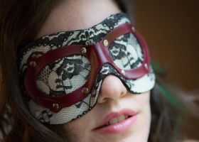 Victorian leather blindfold by DarkHarvestLeather