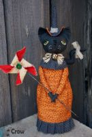 Betty the Cat Witch Folk Art Textile Doll by AnastasiasArts