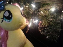Fluttershy By The Christmas Lights by Chibi-Rainbow