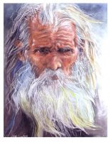 face of an old man by daaaby