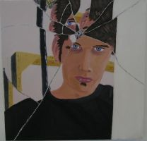 self portrait in broken glass by blueeyedfreak