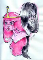 Bubblegum and Marceline by kamarza