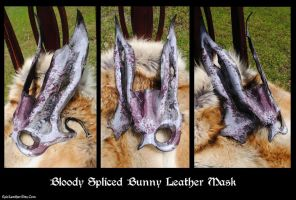 Bloody Spliced Bunny Leather Mask by Epic-Leather