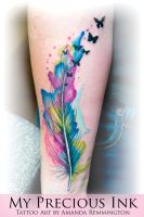 Watercolor Feather Butterfly Tattoo by Mentjuh