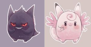 Gengar and Clefable by DrawKill
