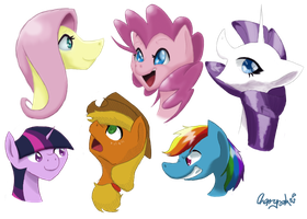 Arted Mane 6 (practice) by GfdsyJuky