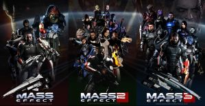 Mass Effect Trilogy Fan Art Triptych by rs2studios