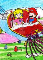 Mario and Peach - flying over the Mushroom Kingdom by Glaciliina