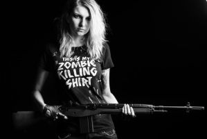This is my zombie killing shirt by AshiMonster