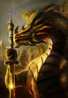 The Golden Dragon Katana by Brollonks