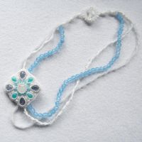 Icy embroidered wedding necklace with kyanites by Sol89