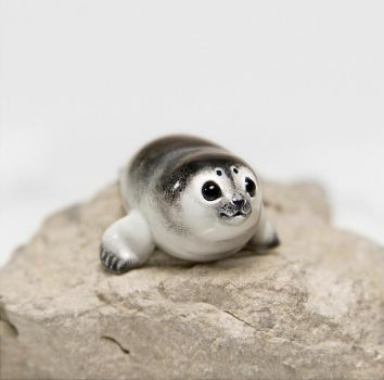 Baby Seal Figurine by RamalamaCreatures