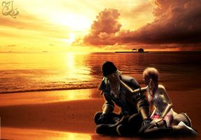 Serah and Snow in Love by oOLightningOo