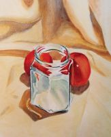 A jar and two nectarines by ronnietucker