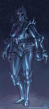 Drow Mithril Golem by SpiralMagus