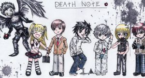 Death Note Chibis in color :D by commoner-pocky