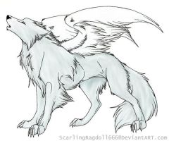 Winged wolf -FREE line art- by TheWolfPack