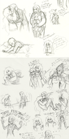 The Snake and the Mouse: doodle dump by MissThunderkin