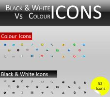 Black And White Vs Color Icons by PRATH33K