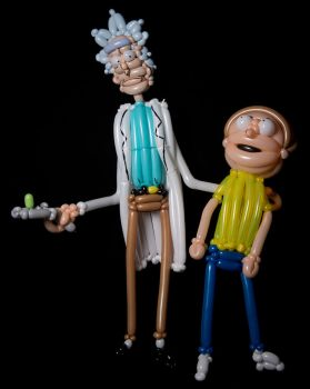 Rick and Morty Balloon Sculptures by DJdrummer
