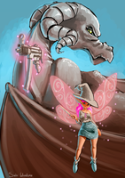 A fairy and her dragon. by Seaworm