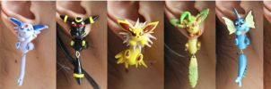 Eeveelution Polymer Clay Earrings by ArtzieRush