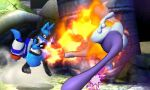 Smash 3DS- Lucario's mouth burns MewTwo by Killzonepro194