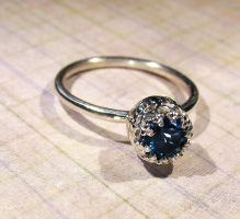 Sterling Silver London Blue Topaz filigree Ring by Utinni
