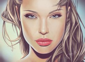 Angelina Jolie, drawing by keillly