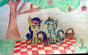 bon bon and lyra picnic by sunnybunnymew