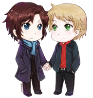 chibi sherlock and john by ibahibut