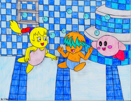 Kirby,Tiff, and Tuff in a pool (Request) by GreenDayLuigi
