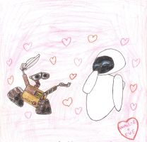 Early Wall-e and Eve drawing by MU-Cheer-Girl