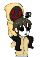Hoodie and Masky piggyback ride by theofficialbaconfort