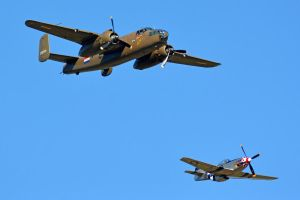 B-25 Mitchell Bomber and P-51 Mustang by masimage