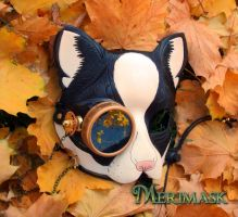 Peeping Tom steampunk kitty mask by merimask